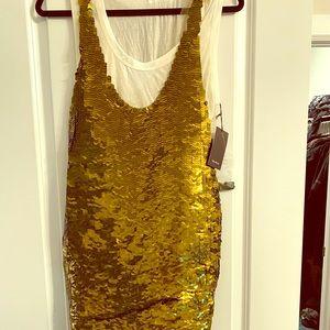 Vera Wang Gold Sequin Dress NWT